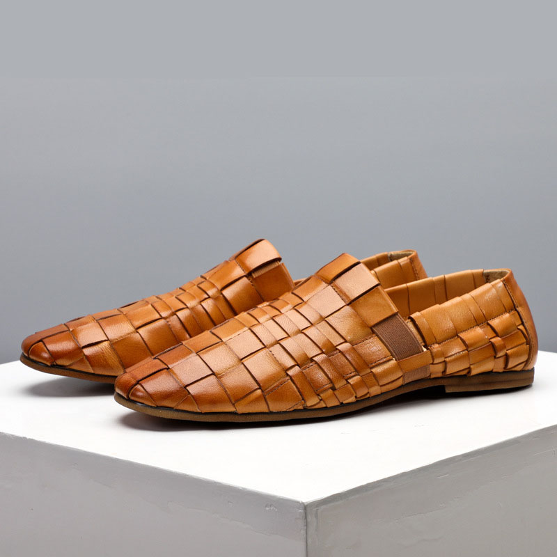 Nouveau hommes tendance chaussures 100% tricoté à la main en cuir véritable chaussures angleterre en cuir hommes respirant affaires chaussures décontractées hommes