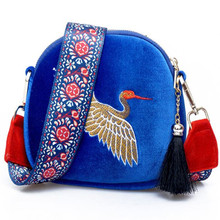 Fashion Mini Velvet Embroidery Crane Shell Bag Wild Strap Fashion Shoulder Bags Designer Tassel Vintage Crossbody Bag