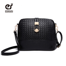 ECOSUSI Knitting Women Messenger Bags Fashion Shell Female Bag Women Leather Bag Durable Crossbody Women Ladies Wallet Shoulder