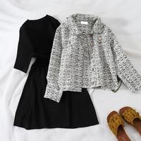2018 new fashion women's dresses autumn two piece set cardigan+long sleeve knit dress