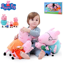 Original 4Pcs/set Peppa Pig 19/30cm Animal Stuffed Plush Toys Action Figure Model Dolls Pink Family Party For Children Gift