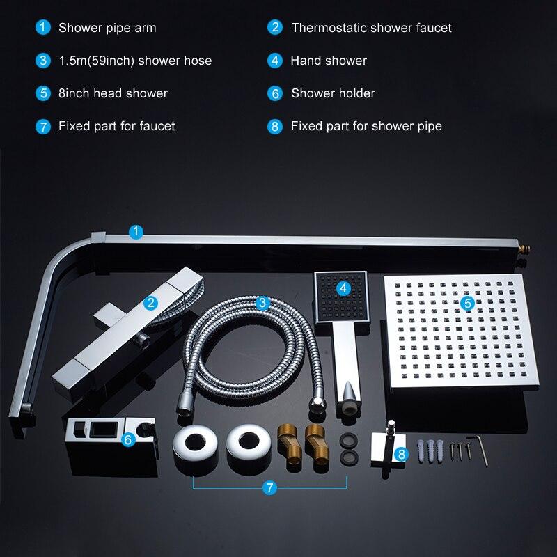 Ensemble de douche thermostatique ROVATE pour salle de bain, système de douche à robinet de bain à contrôle de température constante, laiton chromé - 6