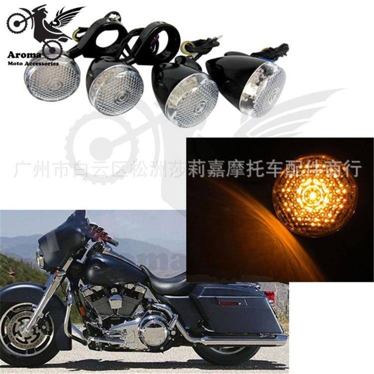 1 set of 4 PCS cruise amber plastic motorbike front rear turn signals indicator moto LED for harley motorcycle turn signal light
