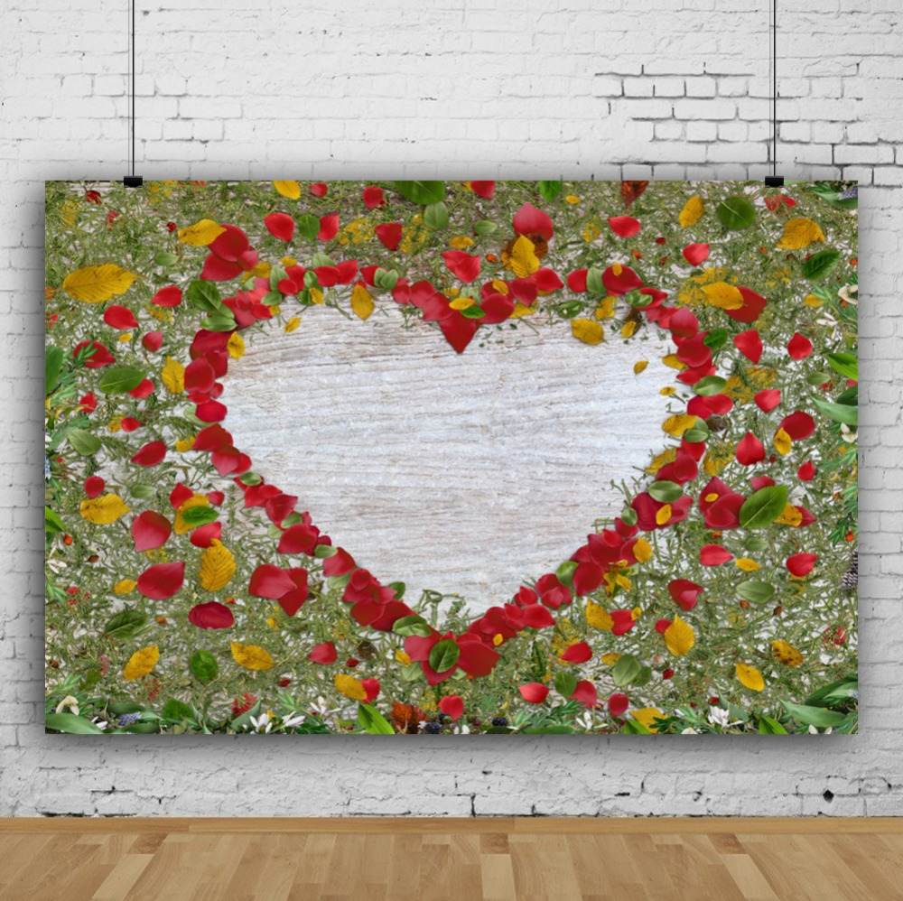 Laeacco Spring Colorful Heart Red Flowers Wall Baby Children Scene Photography Background Photographic Backdrop For Photo Studio