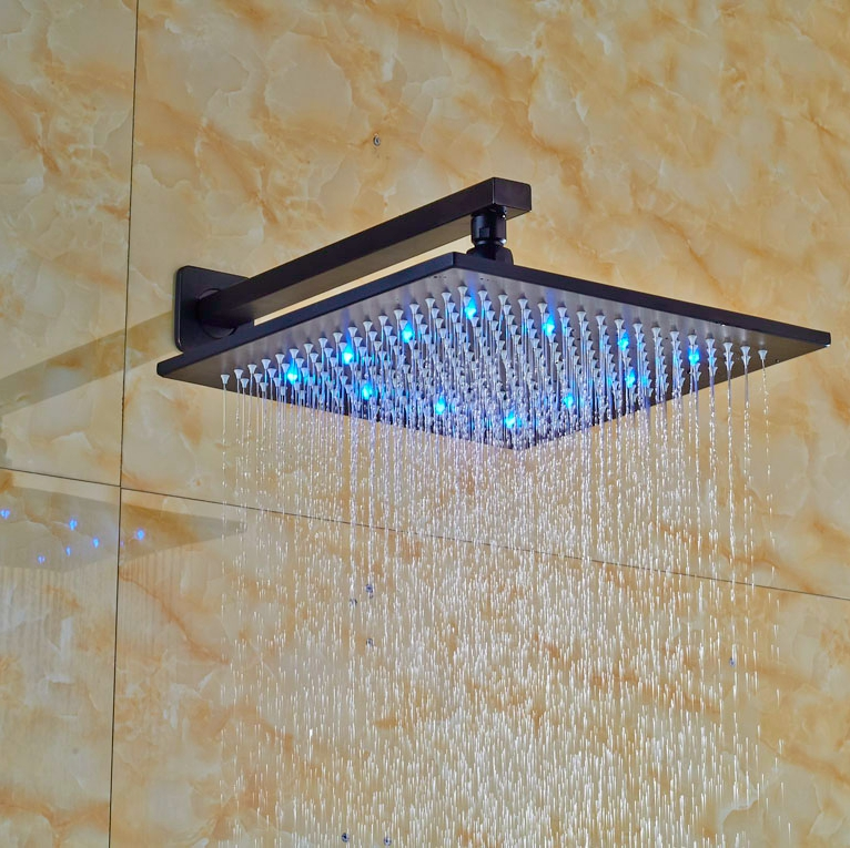 LED Color Changing Oil Rubbed Broze Shower Head Wall Mounted Rainfall Shower Head
