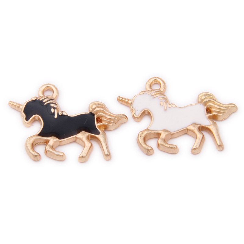 Jewelry Sets & More Jewelry & Accessories Obliging New Arrival Black White Colors Enamel Alloy Animal Horse Charms 10pcs 21*15mm Gold Tone Plated Oil Drop Diy Bracelet Pendants To Win Warm Praise From Customers