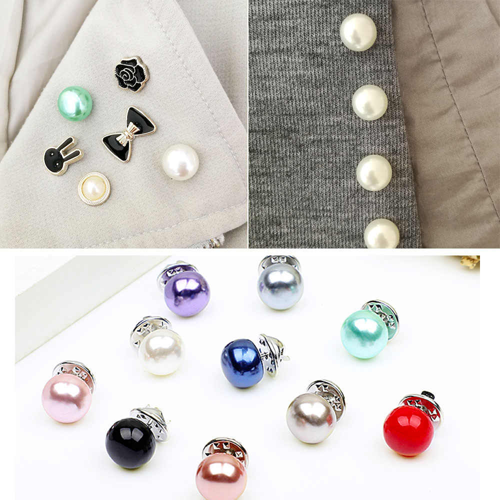 1 Pcs 1.2cm Women Brooch Imitation Pearl Brooches Lapel Pins Bow Rose Badges Pin Sweater Coat Clothing Accessories