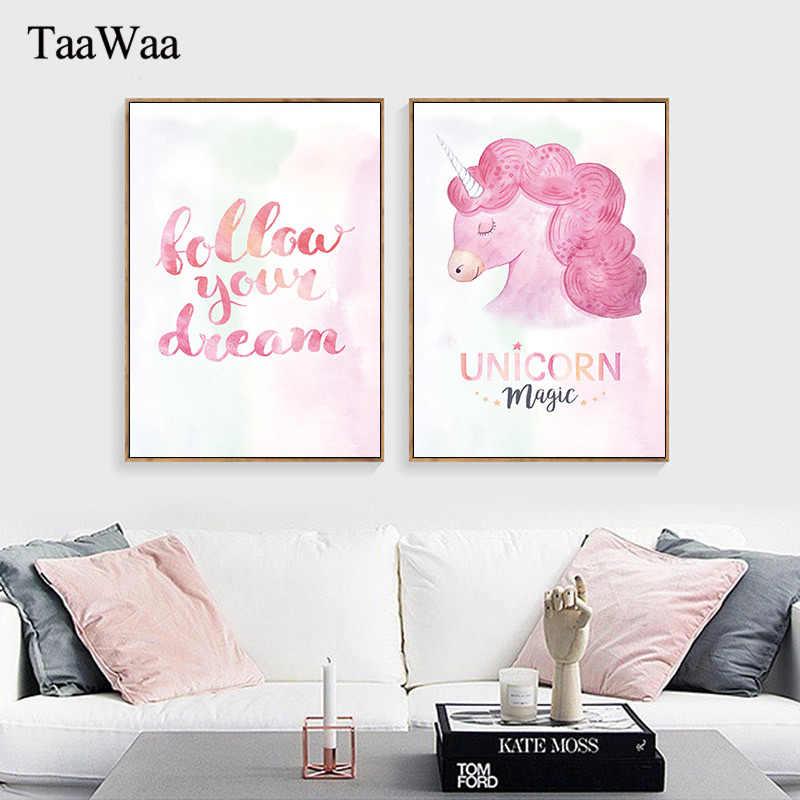 Rosa unicórnio citações motivacionais lona arte da parede do berçário cartaz e impressão pintura imagem para o quarto das crianças decoração casa