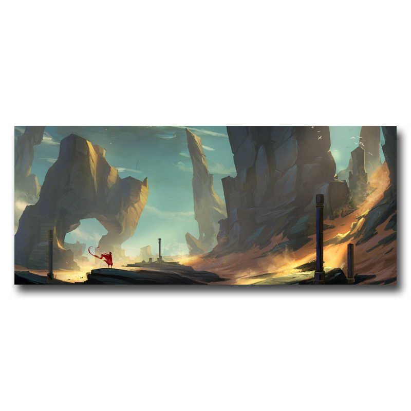 1 Pieces Canvas Journey Landscape Mountains Mist Game Art Silk Fabric Poster Print Wall Home Decor Painting