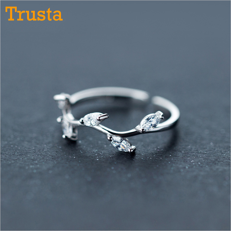 Trusta 100% 925 Real Sterling Silver Fashion Jewelry Leaves Cocktail Ring Sizable 5 6 7 Girls Kids Xmas Gift DS532 Drop Shipping hot hair cuff clip jewelry hairpin womens accessories xmas gift star leaf drop shipping high quality s16 drop shipping