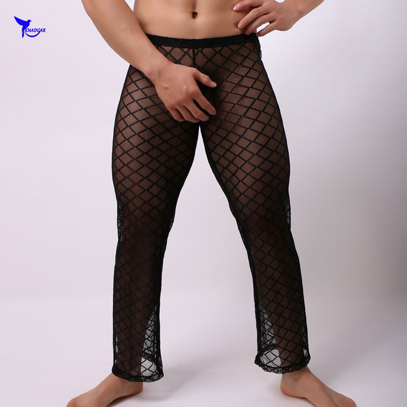 Men Long Pants Underwear Full Length Mesh Transparent Sleepwear Nightwear Pants Sexy Gay Mesh Underwear Clothing Long Trousers