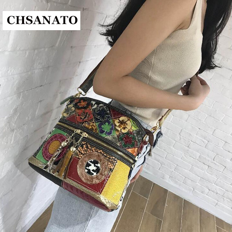 CHSANATO Colorful Women Bag Patent Leather Girls Snake Pattern Bags Messenger Shoulder Bags National Style Tassel
