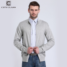 CITY CLASS 2017 Mens Sweaters Spring Autumn Solid Long Sleeve Cardigan Turtleneck Cotton Knitted Sweater Zipper Pullovers 3573