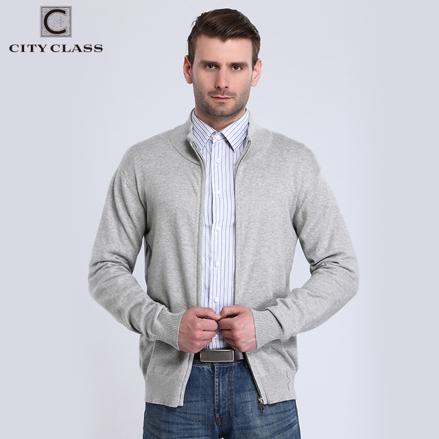 CITY CLASS 2018 Mens Sweaters Spring Autumn Solid Long Sleeve Cardigan Turtleneck Cotton Knitted Sweater Zipper Pullovers 3573