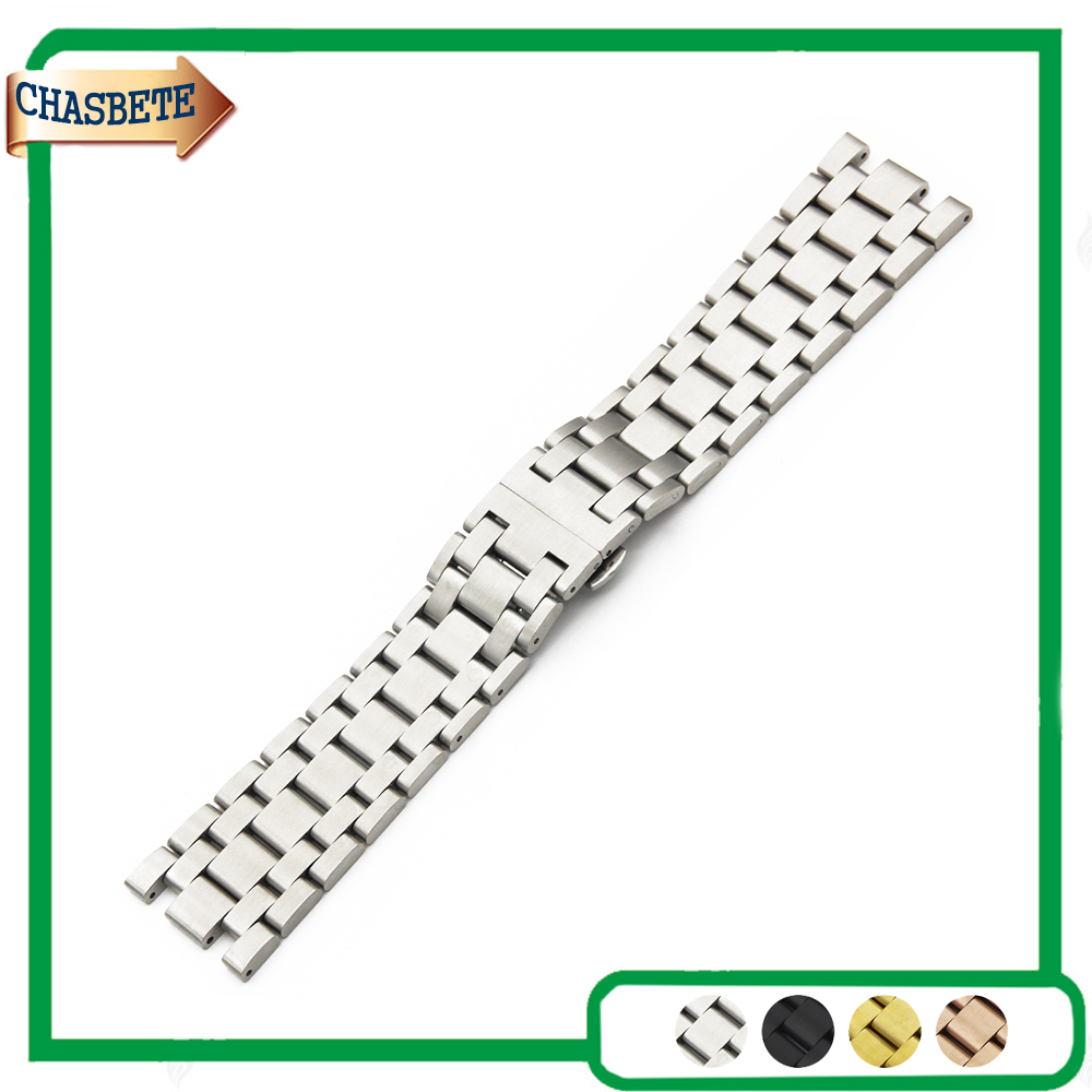 где купить Stainless Steel Watch Band for AP Audemars Piguet Royal Oak Watchband 28mm Metal Strap Belt Wrist Loop Bracelet Black Silver по лучшей цене