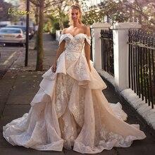 Loverxu сексуальный вырез «сердечко» кружевное винтажное свадебное платье Роскошные с открытой спиной аппликации цветной бисер со шлейфом трапециевидной формы свадебные платья