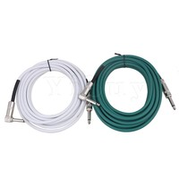 Yibuy 6 Meter Length Copper Cord Electric Guitar Instrument Patch Cable 1 4 Straight To Elbow