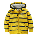 Free shipping 2016 autumn and winter children's clothing zipper shirt printing long-sleeved striped hooded sweater boy