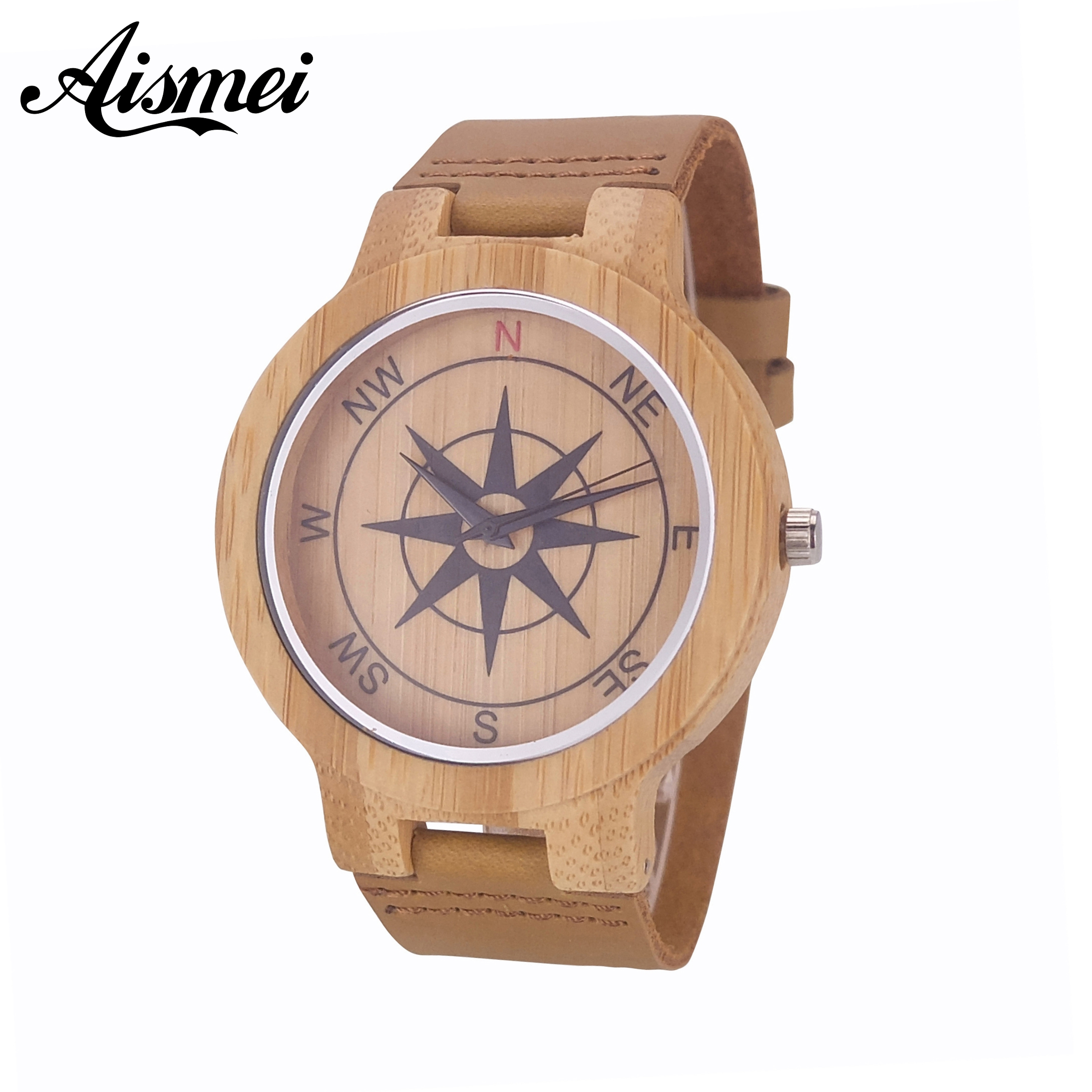 2018 New Design Compass Dial Bamboo Wood Watches for Men and Women Fashion Casual Leather Strap Wrist Watch Male Female Relogio bamboo wood watches for men and women fashion casual leather strap wrist watch male relogio