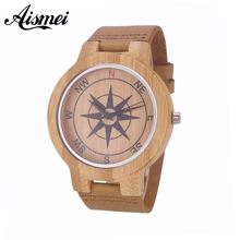2018 New Design Compass Dial Bamboo Wood Watches for Men and