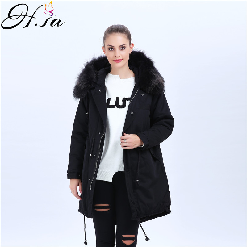 H.SA New 2017 Winter Coats Women Jackets Real Large Raccoon Fur Collar Thick Ladies Down & Parkas Winter Warm Jacket Army green 0 3m usb 3 0 type a male to female fast speed data sync adapter cable extension cord for laptop pc printer hard drive