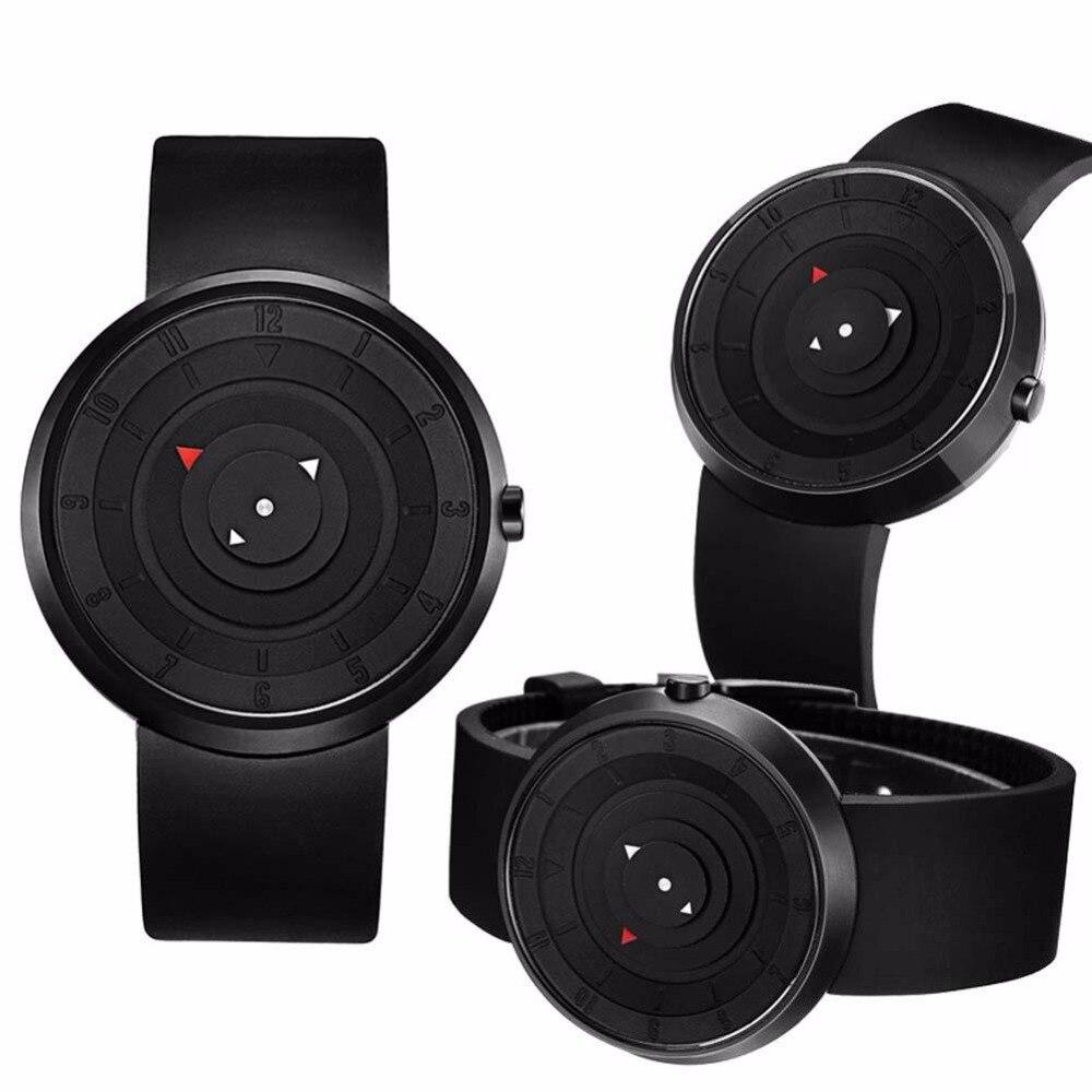 d93b9b3c35c Mode Hommes acier inoxydable Analogique Quartz Sport Deuxième Disque  montre-bracelet Noir