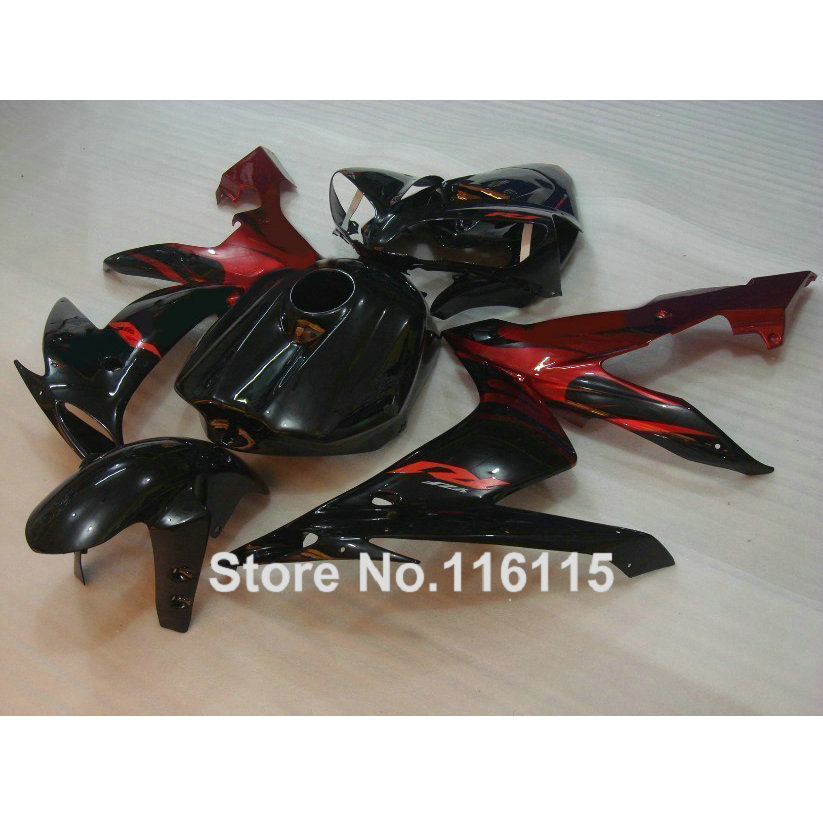 Injection molding fairings set for YAMAHA YZF R1 2004 2005 2006 red black ABS plastic fairing kit YZF-R1 04 05 06 CY10 high quality abs fairing kit for yamaha r1 2002 2003 red flames in black fairings set injection molding yzf r1 02 03 yz32