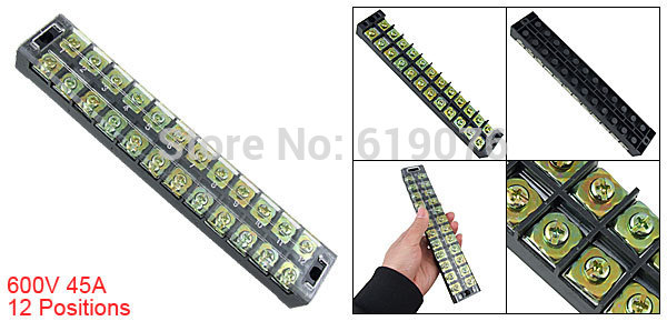 5Pcs TB-4512 600V 45A 12-Position Double Row Covered Screw Terminal Strip