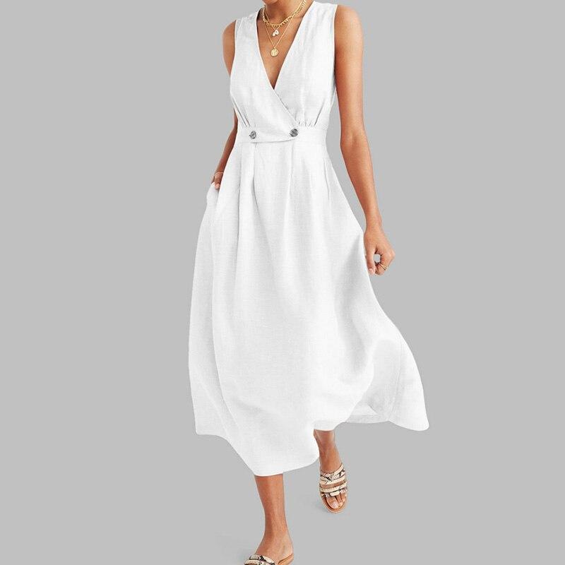 Elegant Summer Commute Ladies Long Dresses Women V Neck Pleated Pure Colour Button Dress