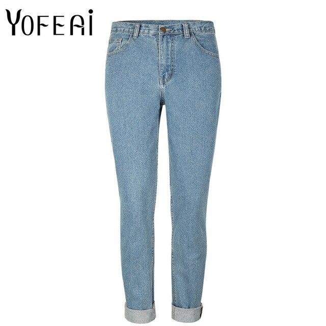 Yofeai 2017 Для женщин плюс Размеры Высокая Талия Омывается Голубой True джинсовые штаны Джинсы бойфренда Femme для Для женщин Джинсы для женщин
