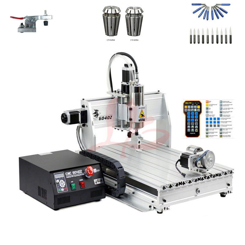 4 axis cnc 3040 2200w spindle 3 axis metal engraving machine er20 collet wood router with limit switch and free cutter 4 axis wood router 6040 PCB engraving drilling machine with USB port and 1500W spindle metal cutter with free cutter er11 collet