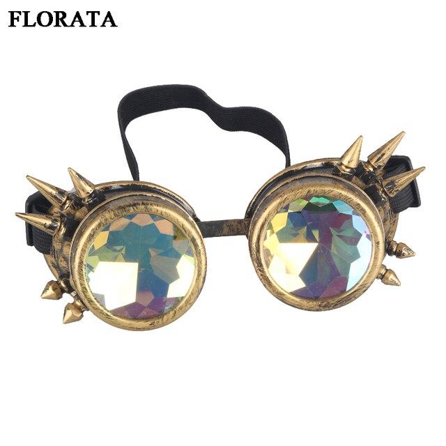 ec6f76e7992 FLORATA Retro Unisex Goggles Steampunk Glasses Welding Cosplay Sunglasses  Vintage Victorian Eyewear 5 Colors