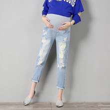9/10 Length Scratch Hole Pregnancy Jeans Maternity Pants Pregnant Women Clothes Trousers Nursing Belly Legging Clothing Overalls недорого