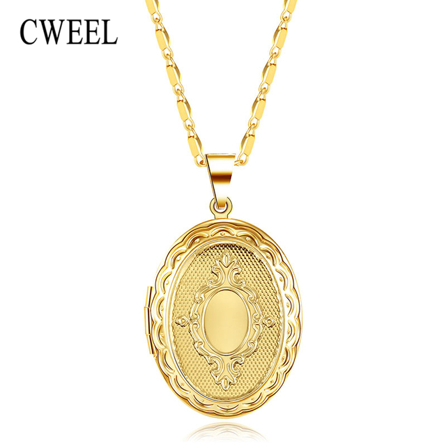 Cweel pendant necklaces oval locket necklace photo gold silver color cweel pendant necklaces oval locket necklace photo gold silver color vintage statement necklace womens jewelry necklaces aloadofball Images