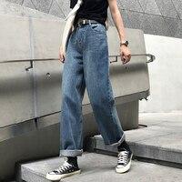 2018 Fashion Loose Boyfriend Jeans Woman High Waist Straight Jeans Vintage Plus Size Blue Jeans for women Casual Mom Jeans femme