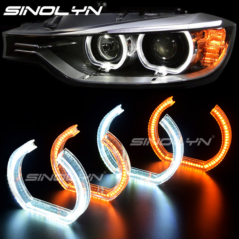 Acrylic Crystal 7000K 3D LED Angel Eyes Halo Rings For BMW 3 E90 E92 E93 M3 Coupe DTM Style White Amber Switchback Turn Signal