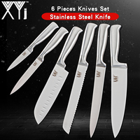 XYj 3Cr13mov Japanese Stainless Steel Knife Set 6pcs Kitchen Knives Set Paring Utility Santoku Bread Slicing Chef Knife Cleaver