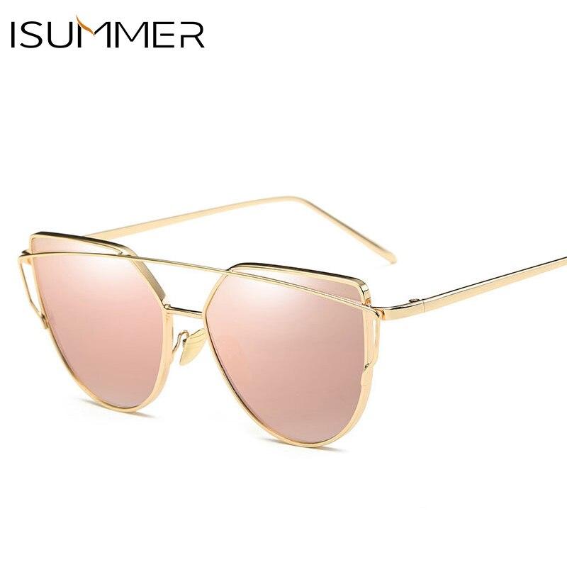 ee263afb64a משקפי שמש לנשים - ISummer 2018 Fashion Cat Eye Sunglasses Women Mirror  Barbie Pink Ladies Sunglasses Male Metal Sun Glasses Men Glasses gafas