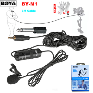 Micrófono condensador omnidireccional BOYA BY-M1 Lavalier para videocámaras estéreo DSLR Canon Nikon iPhone Grabación de radiodifusión