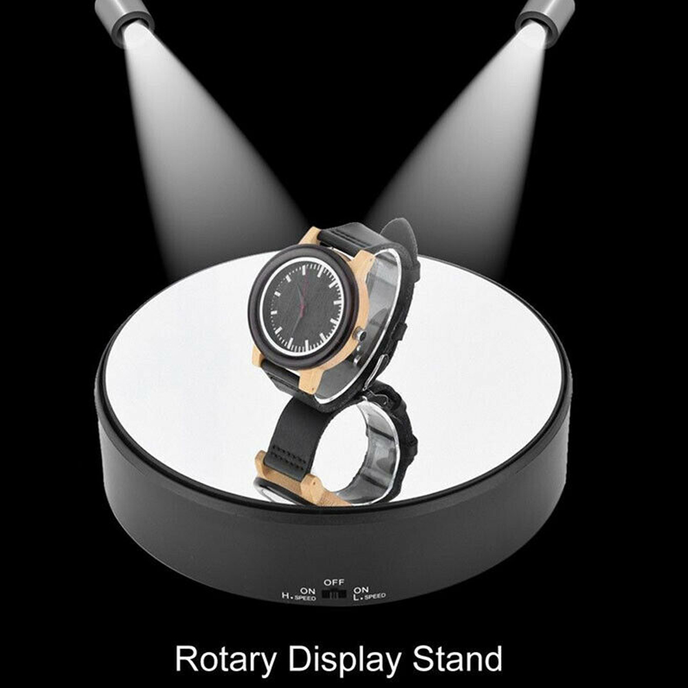 Battery Operated Toy Model Watch Jewelry Holder Rotating Durable Art 360 Swivel Display Stand Mirror Glass Professional Craft