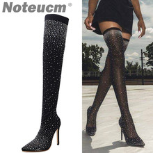 bb788e2e1a7 2018 female autumn Sexy Sequin Cloth stocking thigh high Heel over the knee  boot Elastic Shoe Glitter Stiletto Fashion for Wome