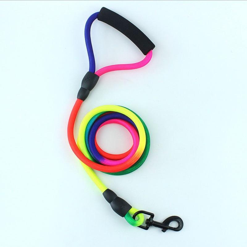 Durable Nylon Rainbow 2M Pet Dog Leash Walking Training Leash Cats Dogs Harness Collar Leashes Strap Belt Rope
