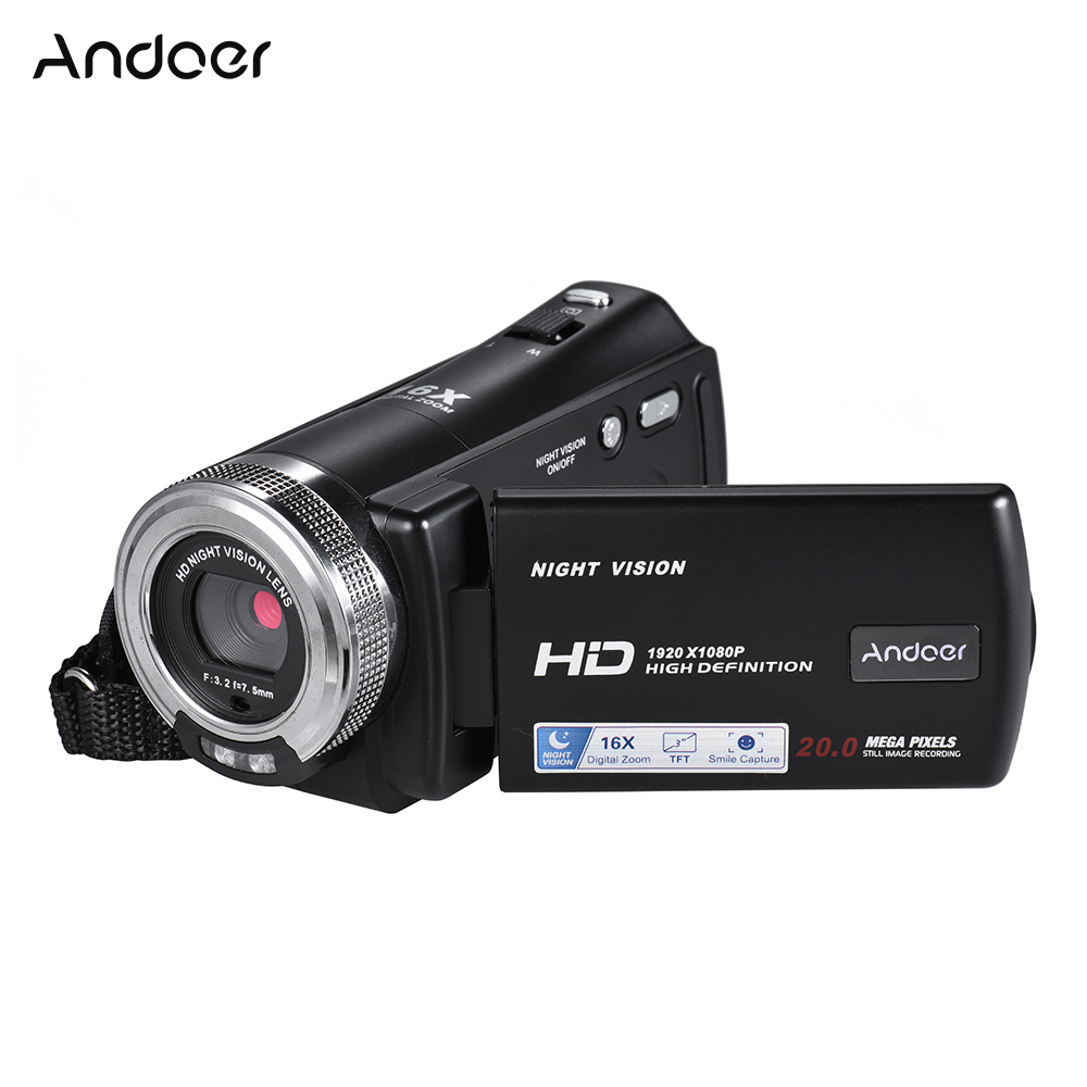 Andoer V12 1080P Full HD 16X Digital Zoom Recording Video Camera Auto Portable Camcorder with 3