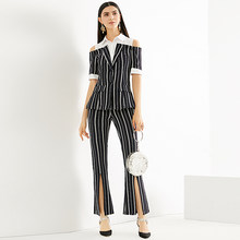 Runway New Fashion High Quality 2018 Summer Party Fashion Office Sexy Daily Splicing Top Striped Pants Trousers Women's Sets(China)