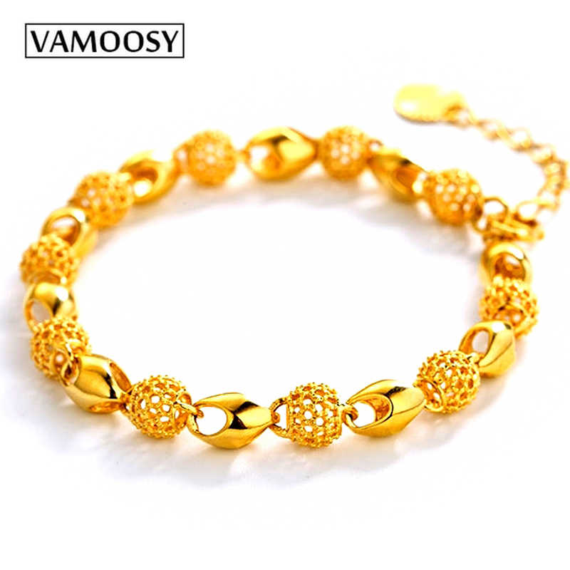 VAMOOSY Luxury Shiny Beads Charm Bracelets & Bangles Gold Bracelets for Women 24K Gold Color Copper Jewelry Pulseira Feminina