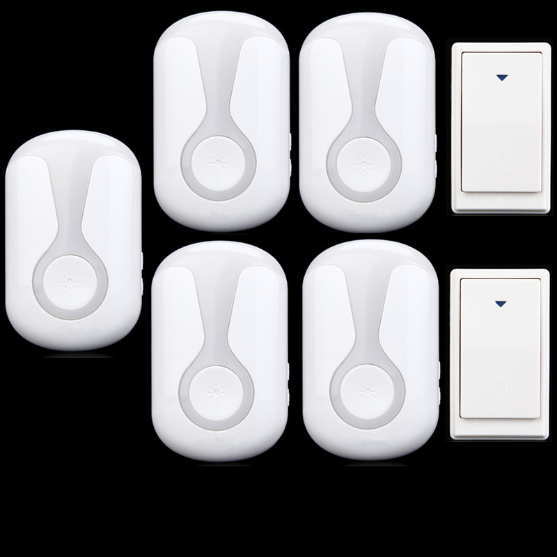 ФОТО 36 Tunes Wireless Cordless Doorbell Remote Door Bell Chime,2 Button and 5 Receivers,No need battery,Waterproof, EU/US/UK Plug
