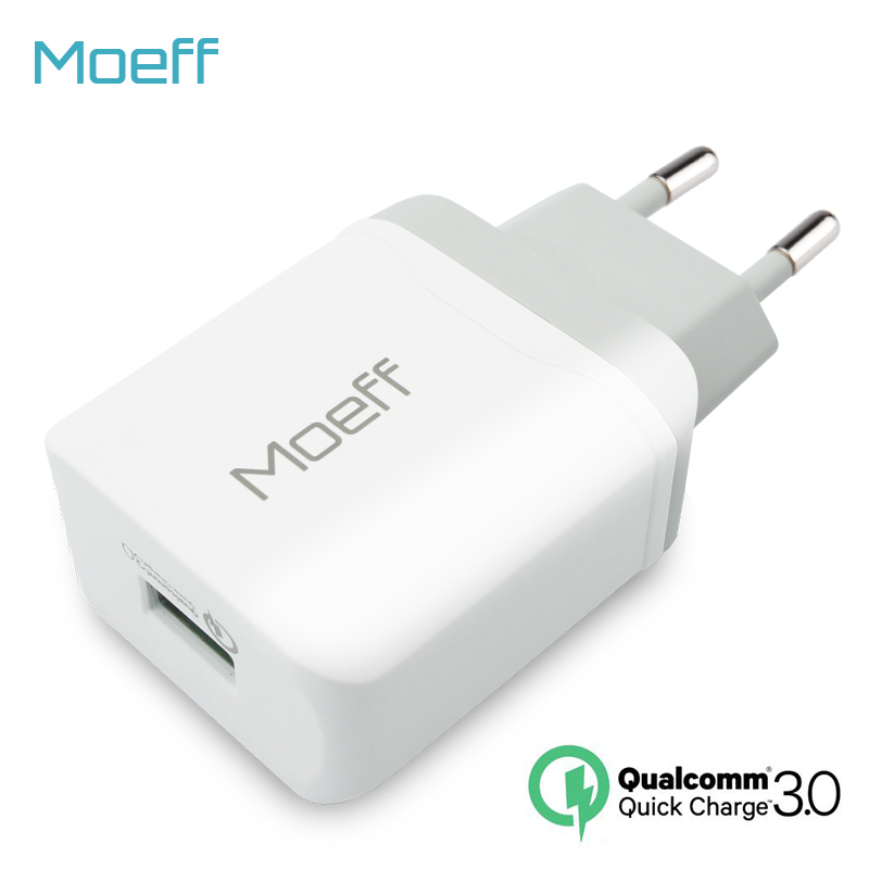 Moeff EU US Wall USB Phone Charger Qualcomm Quick Charge 3.0 Travel Fast Charging Plug Adapter 18W For Samsung Galaxy S7 S8 S6