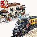 Sluban estación del tren eléctrico led minis building block sets ladrillos modelo juguetes compatible con leping diy