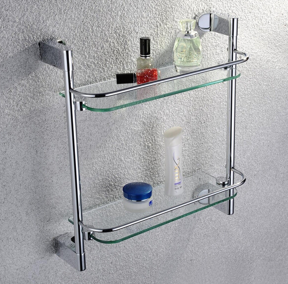 Free shipping Accessories Products Solid Brass Chrome Finished Double Glass shelf  CS012d-1