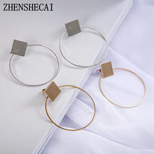 Simple Style Fashion Geometric drop Earrings for Women Square Round Circle Earrings Pendientes Ear Jewelry 2018 e0130(China)